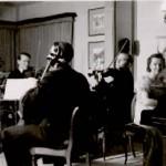 Sentrum: Sandefjord filharmoniske orkester i aksjon på slutten av 1940-tallet. Personene på bildet er ukjent. Foto er utlånt av Dag Østby Pedersen